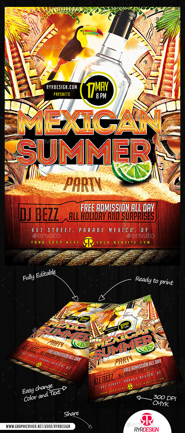 Summer Mexican Party PSD Flyer - Events Flyers