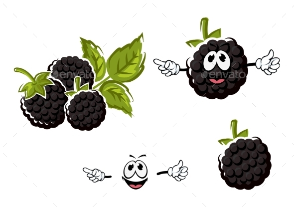 Ripe Cartoon Blackberries Fruits Characters - Food Objects