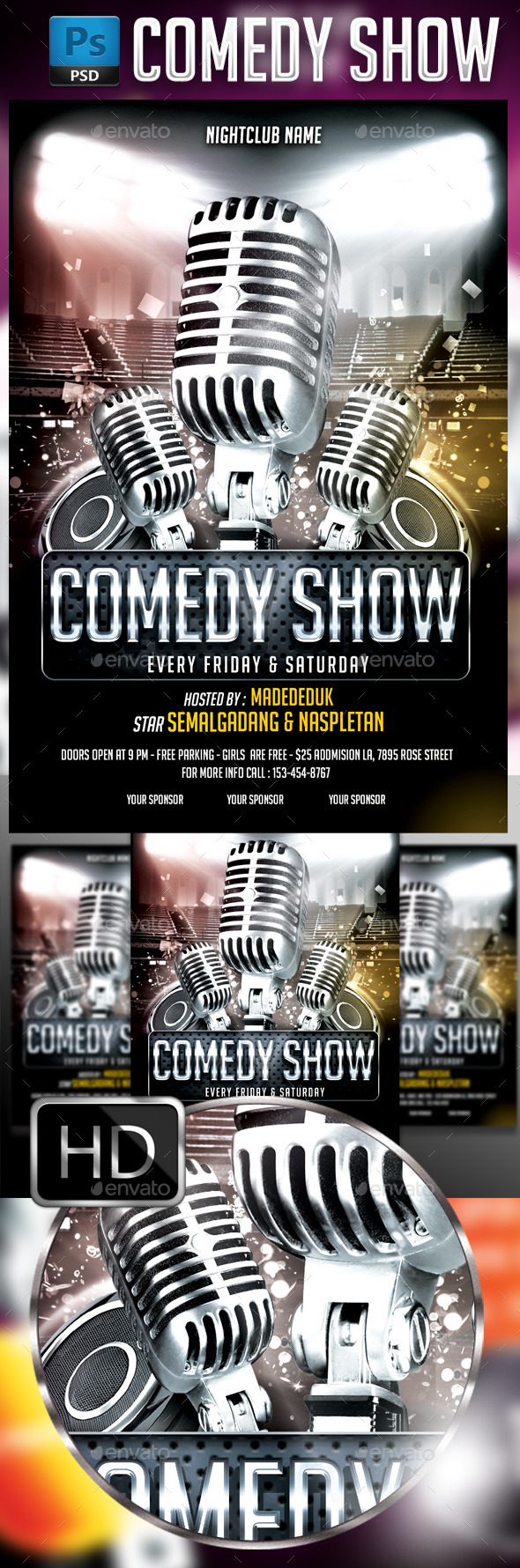 Comedy Show Flyer Template #2 - Events Flyers