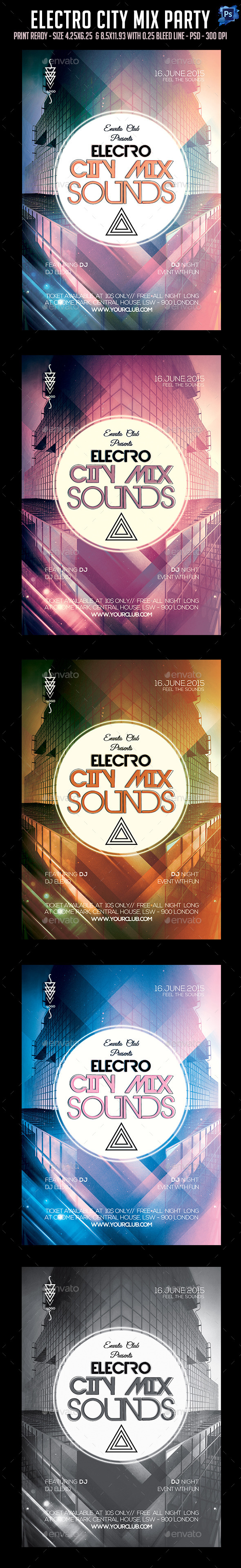 Electro City Mix Sounds Flyer - Clubs & Parties Events