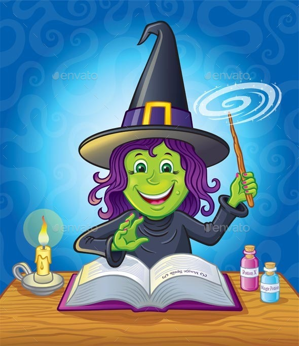 Cute Girl witch Casting A Spell - Halloween Seasons/Holidays
