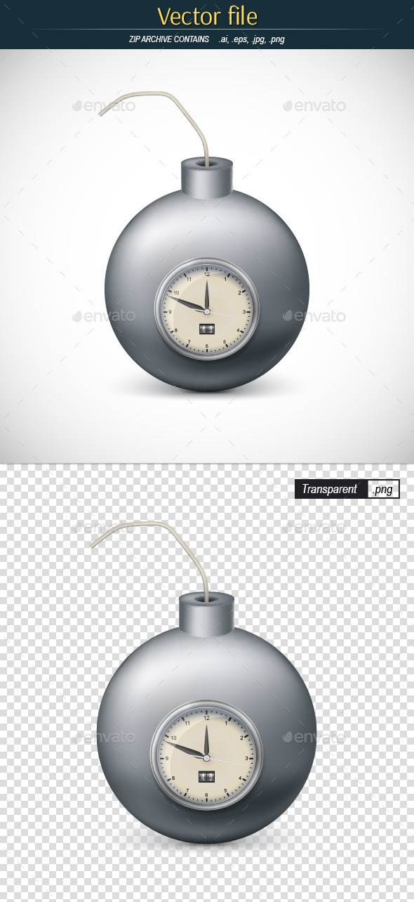 Bomb with Mechanic Clock - Man-made Objects Objects