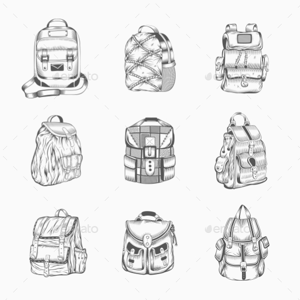 Set Of Different Hiking Backpack. - Travel Conceptual