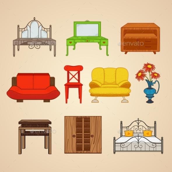 Set Of Ten Illustrations Furniture. - Industries Business