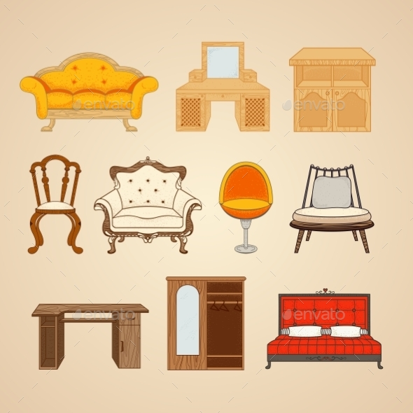 Set Of Ten Illustrations Of Home Furnishings. - Industries Business