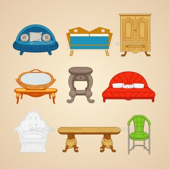 Set Of Illustrations Of Home Furnishings - Industries Business