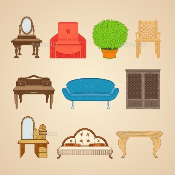 Set Of Ten Illustrations Furniture. - Industries Business