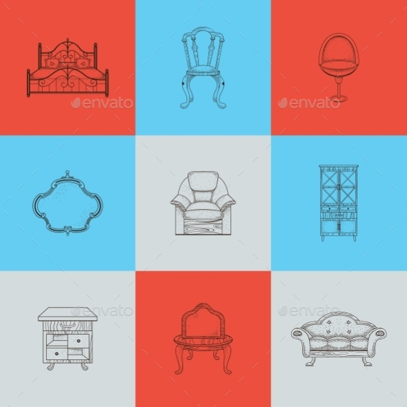 Set Of Nine Illustrations Furniture For Home. - Industries Business