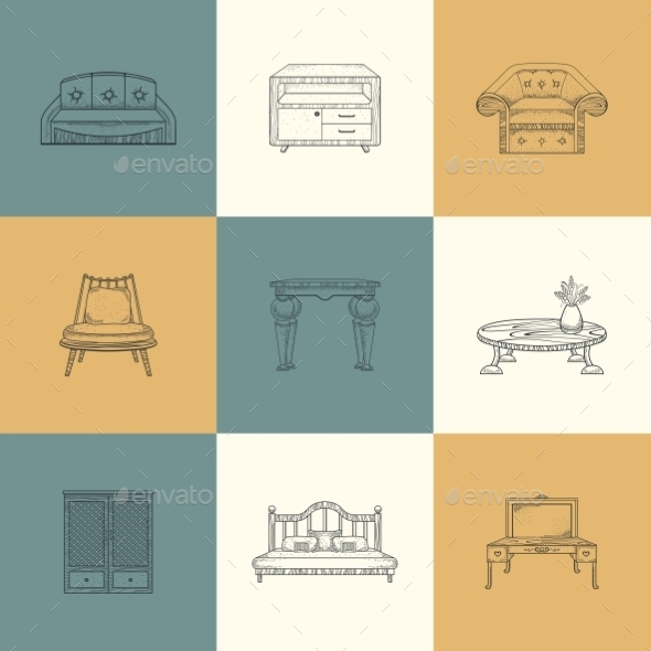 Set Of Furniture Illustrations. - Industries Business