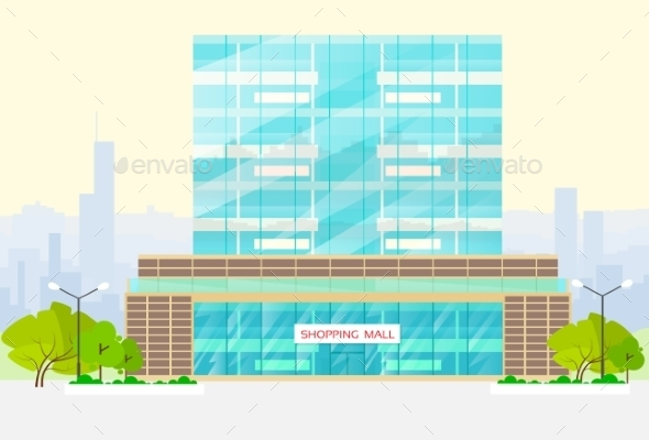 Shopping Mall Building Exterior Vector - Buildings Objects