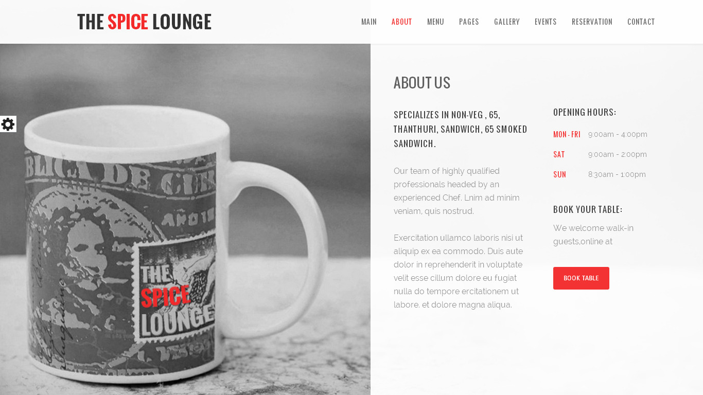 the spice lounge   cafe html5 template by accurathemes