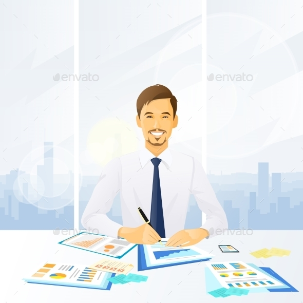 Businessman Working With Documents Sitting - Concepts Business