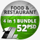 52 Food & Resataurant Web Banners - 4 in 1 Bundle - GraphicRiver Item for Sale