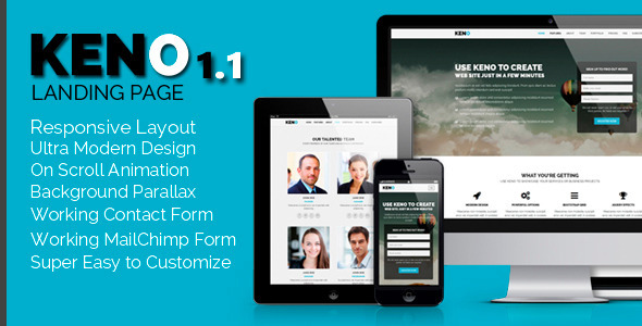 Keno - Flexible and Responsive HTML5 Landing Page - Landing Pages Marketing