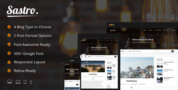 Sastro – 4 Personal Blog Type WordPress Theme
