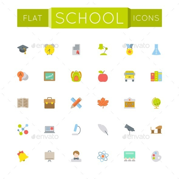 Vector Flat School Icons - Seasonal Icons