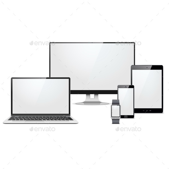 Vector Modern Electronic Devices Set - Computers Technology