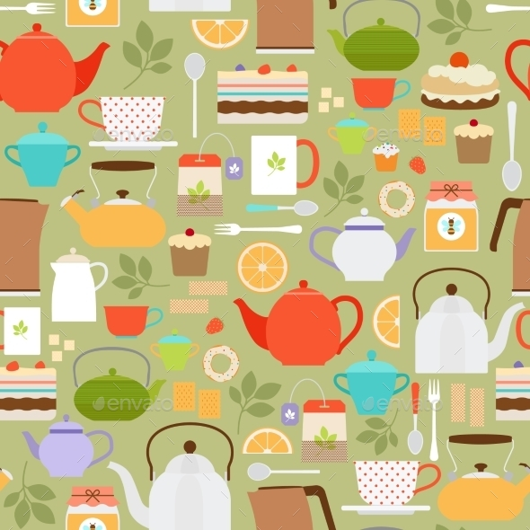 Tea Pattern With Teapots And Cups - Backgrounds Decorative