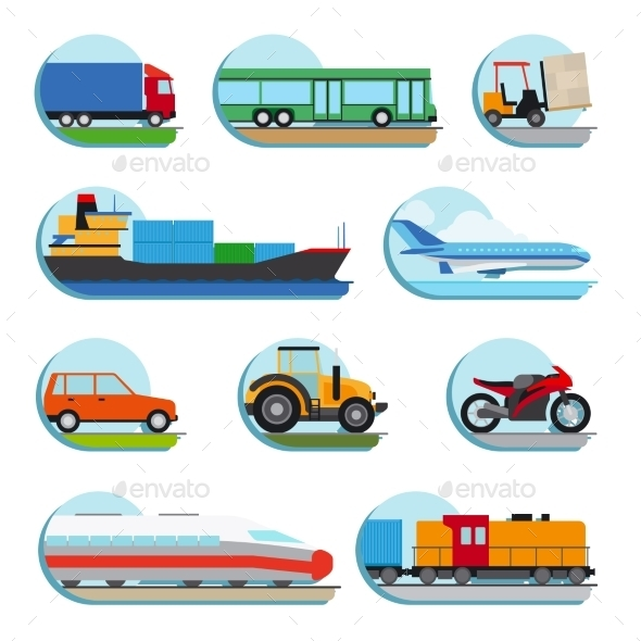 Transportation Icons - Objects Vectors