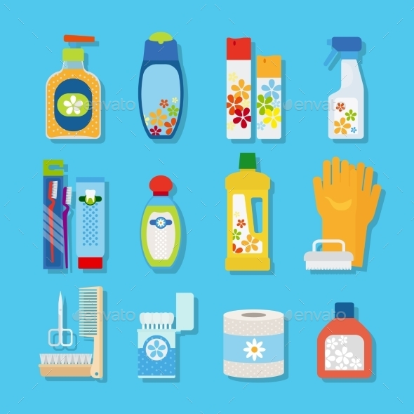 Hygiene And Cleaning Products Flat Icons - Miscellaneous Vectors