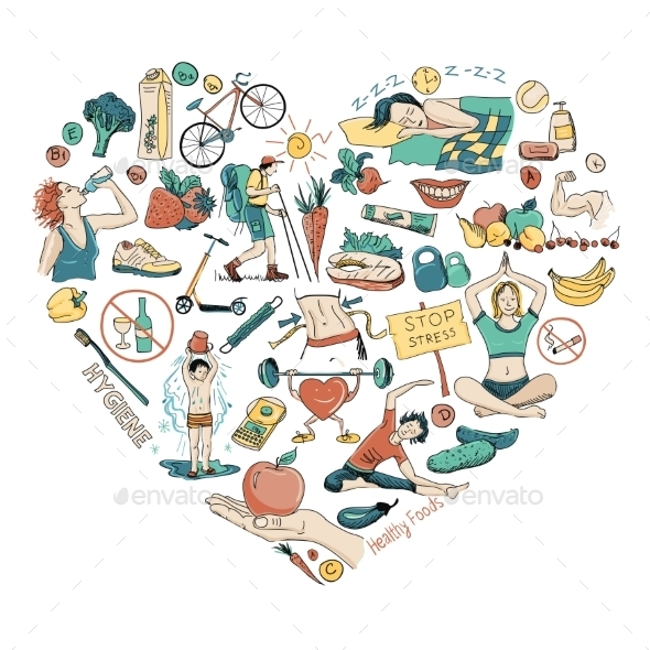 Healthy Lifestyle Heart Background - Food Objects