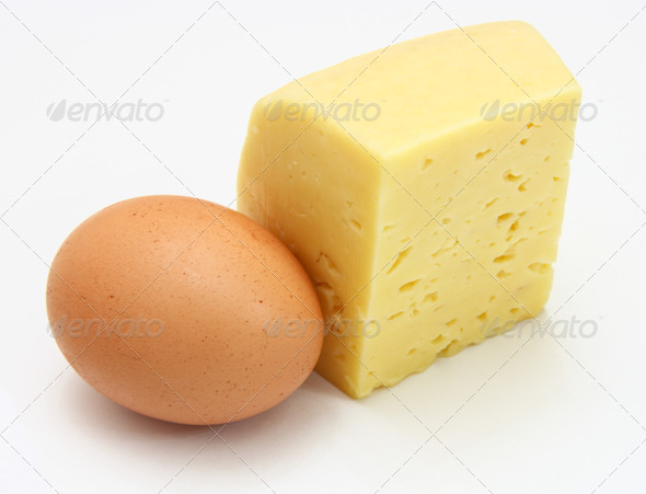 cheese and eggs, isolated on white. - Stock Photo - Images