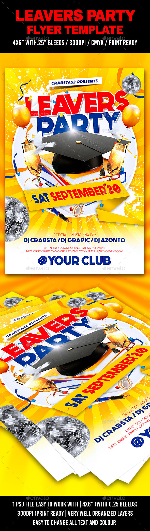 Leavers Party Flyer Template  - Flyers Print Templates