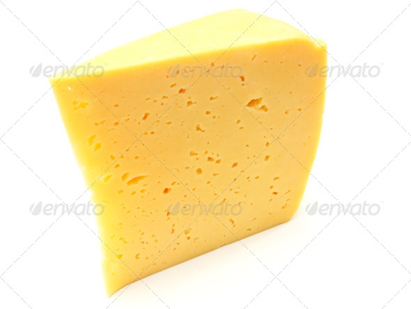A piece of Swiss cheese - Stock Photo - Images