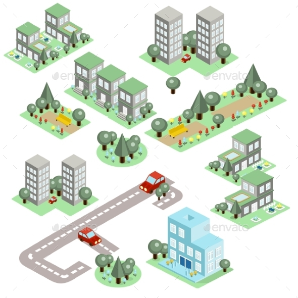 Set Of The Isometric City  - Buildings Objects
