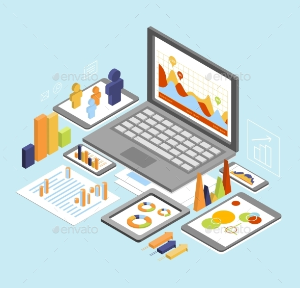 Business Analysis Isometric  - Business Conceptual