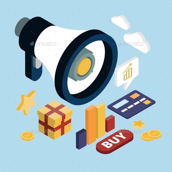 Promotion Online Marketing Flat 3d Web Isometric  - Business Conceptual