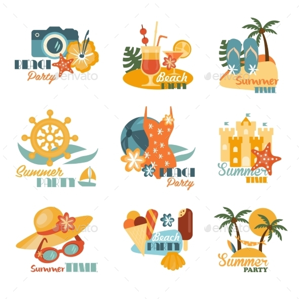 Beach And Summer Labels Set  - Miscellaneous Vectors