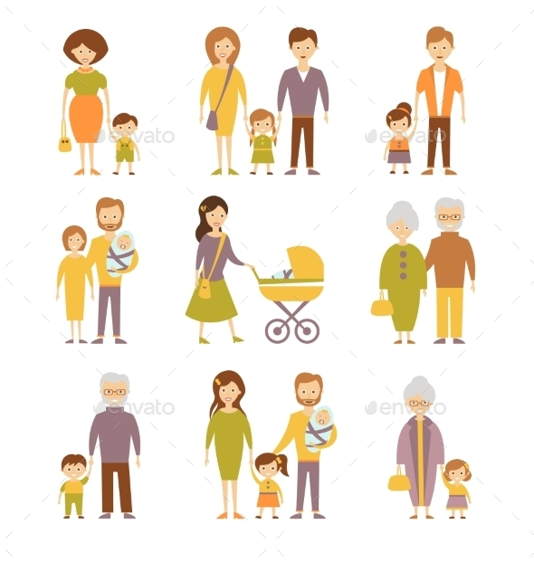 Family Figures Icons Set  - People Characters