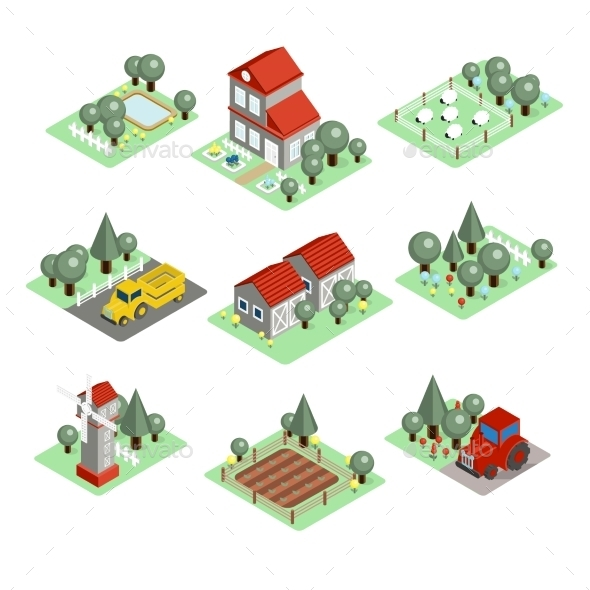 Detailed Illustration Of a Isometric Farm  - Nature Conceptual