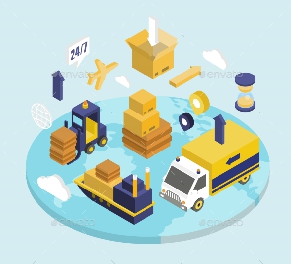 Logistics Isometric Set  - Web Technology