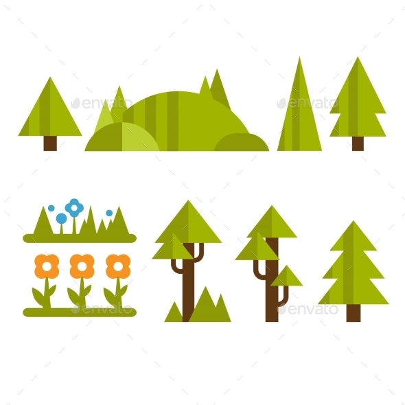 Trendy And Beautiful Set Of Flat Forest Elements - Nature Conceptual