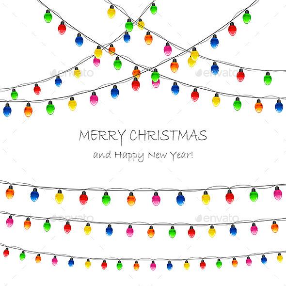 Christmas Lights on White Background - Christmas Seasons/Holidays