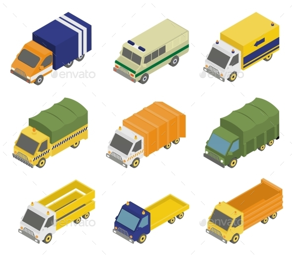 Isometric Public City Transport  - Objects Vectors
