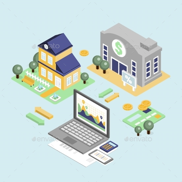 Bank Credit And Home Loan Concept With Isometric - Miscellaneous Vectors