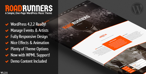 RoadRunners – A One-Page Music WordPress Theme