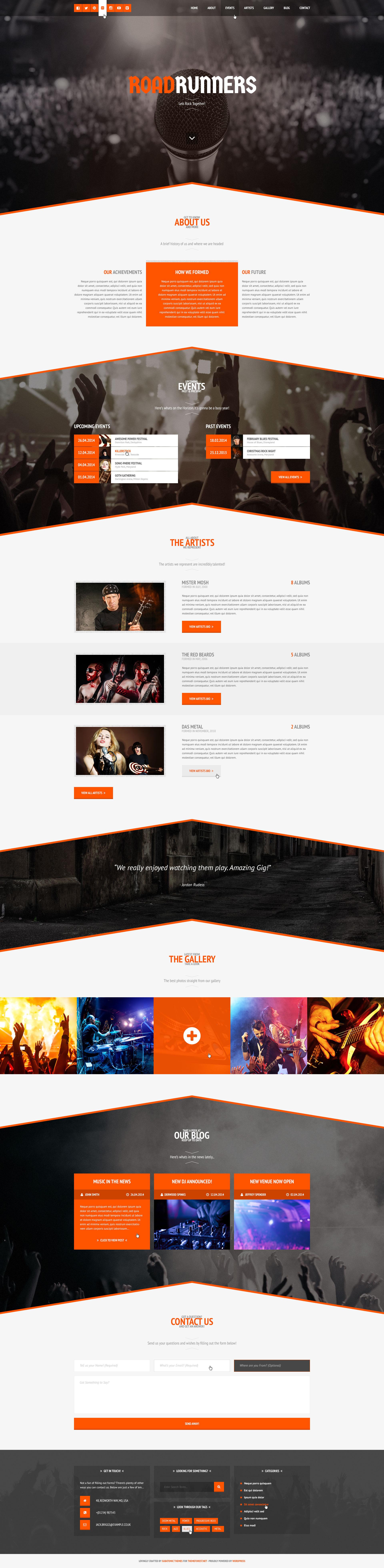 RoadRunners - A One-Page Music WordPress Theme by SubatomicThemes ...