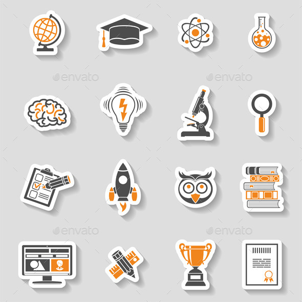 Education Icon Sticker Set - Web Technology