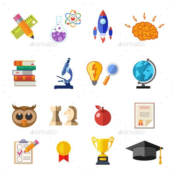 Online Education Flat Icon Set - Web Technology