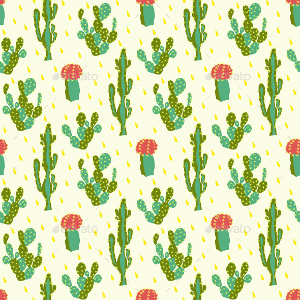 Seamless Pattern With Cactus - Backgrounds Decorative