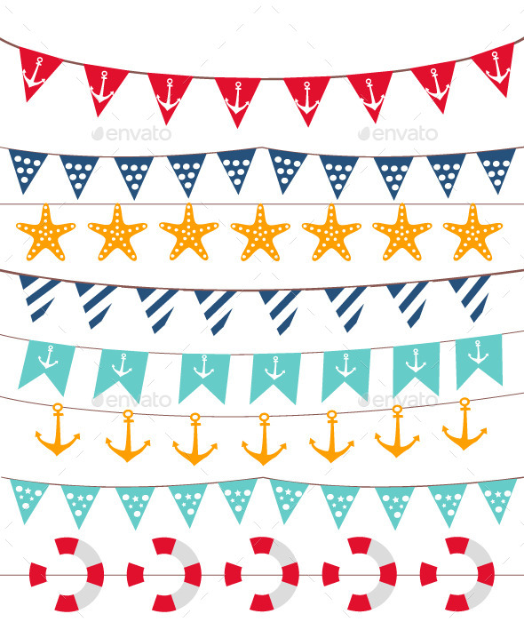 Marine Bunting and Garland Set - Decorative Vectors