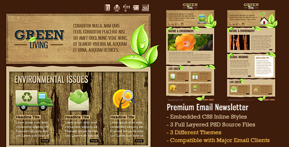 green environment html email template 3 themes