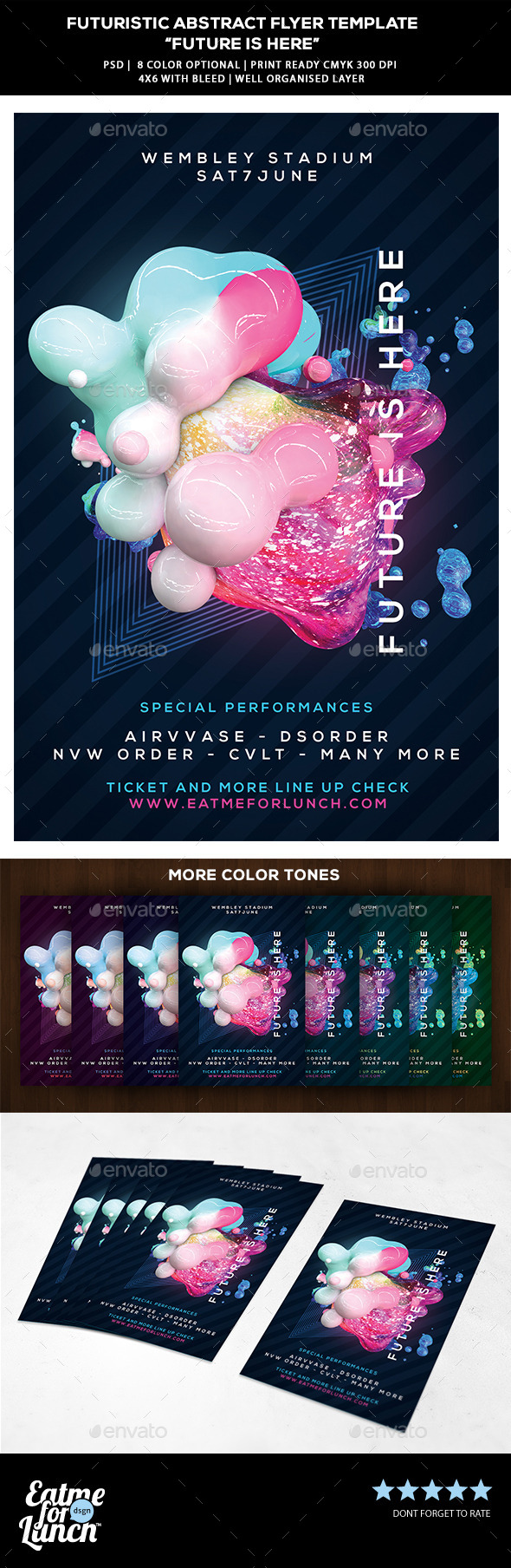 Futuristic Abstract Electronic Music Flyer - Clubs & Parties Events
