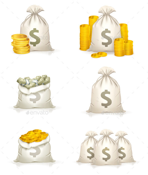 Bags of Money Icons - Man-made Objects Objects
