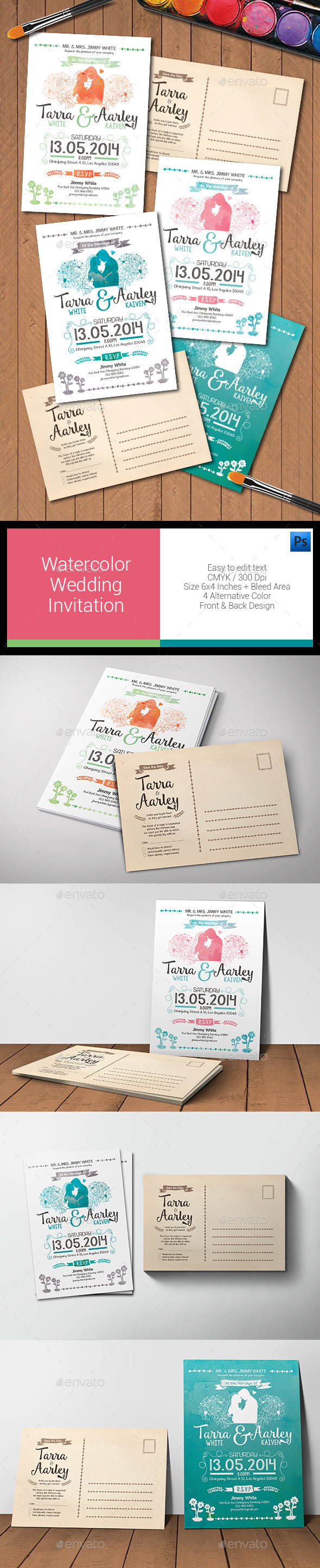 Watercolor Post Card Wedding Invitation - Weddings Cards & Invites