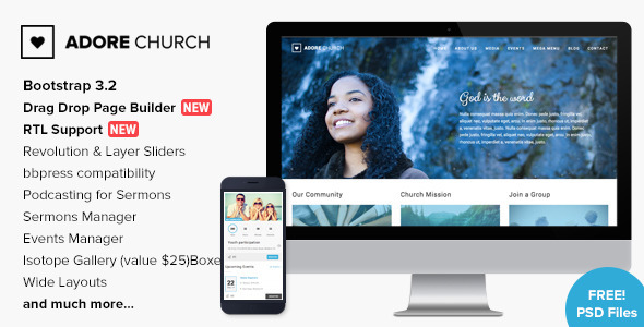 Adore Church – Responsive WordPress Theme